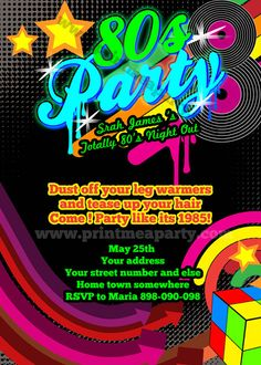 Totally 80's Bling and Neon Birthday party invitation. $14.00, via Etsy.