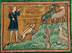 A hunter and dogs pursuing goats. Folio 20r: The Rochester Bestiary c.1230, copy from c.1230AD, Southeastern Endland. Manuscript Royal 12 F XIII