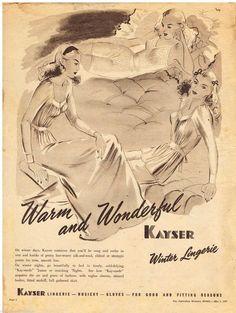 Kayser Ad Hosiery Winter Lingerie Vintage Advertising 1947 Original Advert   eBay