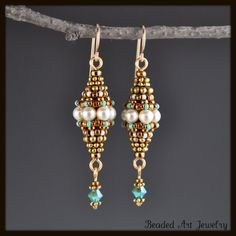 Beadwoven, Beaded, Beadwork, Swarovski Pearl Earrings