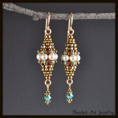 Beadwoven, Beaded, Beadwork, Swarovski Pearl Earrings
