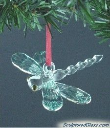 Sculptured Glass Dragonfly Christmas Tree Ornament