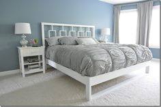 DIY Bed Frame Tutorial - Build a bed frame for only $50! Link to the headboard tutorial in the post. @Michelle Reber   Mama help me build this!