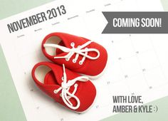 Pregnancy Announcement - Baby Announcement Card - 5x7 We're Expecting Baby - Printable with Add On - Calendar Baby Shoes Announcement. $8.00, via Etsy.