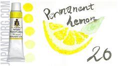 TURNER Artists' Water Colour, Art Paints Colour Name : Permanent Lemon Code : 26 /C Light Fastness : Excellent Transparency: A (Transparent) Capacity : 15 ml  #painting #artists #water #colour #permanent #lemon #yellow #sample