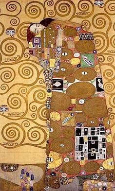"Gustav Klimt  1909 Fulfillment, Palais Stoclet Frieze. Mosaic frieze: marble, gold, ceramic, enamel, semiprecious stones; dimensions of entire Stoclet Frieze, 72"" x 600"""