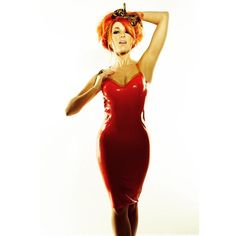 Bonnie McKee - red latex dress (from Twitter)