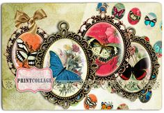 Butterfly Cabochon oval images Digital Printable by PrintCollage