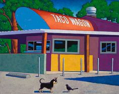 """""""Taco Wagon"""" 24 by 30 inches acrylic on canvas Copper Moon Gallery Taos, NM"""