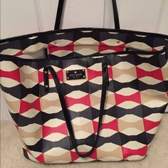 classic&cool HP  Kate Spade huge tote 17 x 12 tote great condition no tears or stains. Only used for a few beach trips  no zipper close. Two zipper pouches inside. kate spade Bags Totes