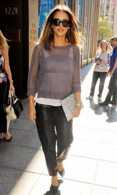 Jessica Alba In Leather Trousers