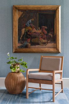 The Verandah Chair upholstered in Jajim Stripe Chestnut shown with The Rattan Barrel Table, both from Soane Britain. Conservatory Chairs, Chair Design, Furniture Design, Luminaire Mural, Barrel Table, Inspirational Wall Art, Seat Pads, Upholstered Chairs, Furniture Making