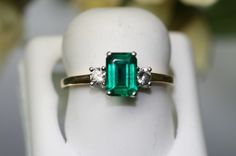 Emerald ring. Again, love the stones, the setting and the vintage style.  The nearest I've ever found to 'that' ring in Jerusalem, but this is nowhere near the colour or fire in that stone
