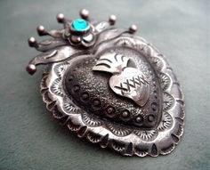 Antiqued Silver Mexican Sacred Heart Milagro Pin and Pendant - Teal Blue Swarovski Crystal