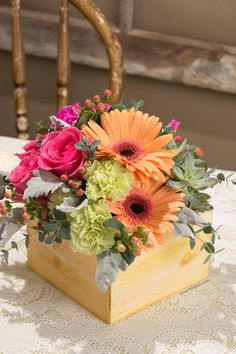 Simple gerbera centerpiece single gerbera centerpieces and flowers flourish classic by viviano flower shop rustic wooden box of flowers in peach hot centerpiece ideaswedding junglespirit Gallery