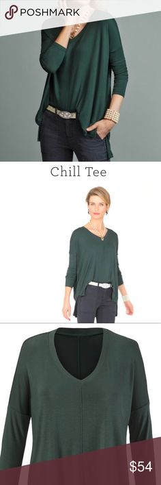 CAbi Flowy Over-Sized Chill Tee Hunter Green Sz S Flowy and oversized for maximum comfort and on-trend style, the Chill Tee is made with a smooth baby rib and a notched high-low hem. Hunter Green Relaxed oversized fit Size Small (see size chart) NWOT! EXCELLENT CONDITION  ✨Fall 2017 Collection, Still Available On Line!   (There are NO Spots or Stains on this item, Color in the pictures seems uneven due to fabrics sheen) CAbi Tops Tees - Long Sleeve