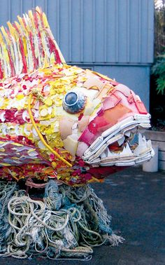 Large-scale sculpture made of marine debris from the Washed Ashore project in Bandon, Oregon.