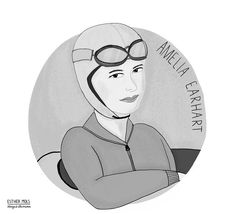 ✈️ Amelia was a pilote who was the first woman that crossed the atlantic ocean in In 1937 she disapeared on another flight. Cheap International Flights, Who Is The First, Amelia Earhart, Girl Power, Draw, Atlantic Ocean, Aviation, Woman, Drones