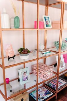 Rose gold shelving unit | theglitterguide.com