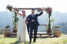 Married in THE MEADOW at The Mountain Winery in Saratoga, CA / Photo Credit LISA WHALEN PHOTOGRAPHY   / Gown by Ju.Lee Collection / Flowers by LANI ELIZABETH / Arbor form Rewined Designs