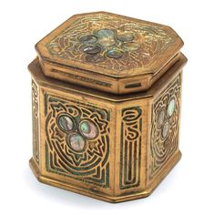 [Tread/Tiffany Studios Inkwell, bronze with the Abalone pattern, original patina, includes clear glass insert