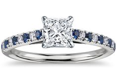 Micropavé Sapphire and Diamond Petite Cathedral Engagement Ring in Platinum by Blue Nile