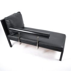 Antonio Citterio for B&B Italy Black Leather Chaise Lounge Baisity