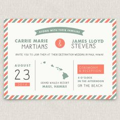 Postage - Modern destination wedding invitation with map and airmail design