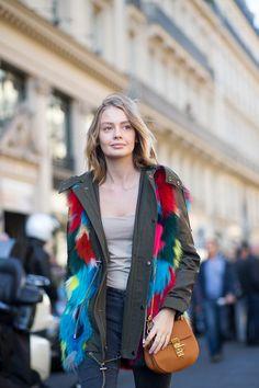 Colorful patchwork fur. Paris #Offduty
