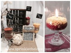 use highly scented wax sprinkles to make a DIY candle bar at your wedding! guests grab a candle holder and wick and simply scoop sprinkles into it....making a wedding favor they can  home with them! this rustic fall wedding features pink zebra wax sprinkles in All Spicy!, Cinnamon Spice and Farm House Cider. www.sprinklethelove.com.