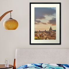 """""""Rome cityscape with sunset sky and clouds, Italy """" Framed Art Print by PaoloModena 