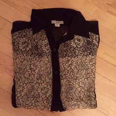 Floral Crochet Blouse 🤓 Floral Crochet Blouse.  Wore once for an interview (& I got the job 😜).  Flawless condition! Size medium.  Black, Cream & Gold color scheme. Looks great with black pants or skirt.  Great for the office! 📚📊  15% off bundles of 2+ 💥👍🏽 Tj Maxx  Tops Blouses