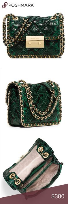 """MICHAEL Michael Kors 'Carine' Medium Shoulder Bag ✨In Palmetto Green ✨Snake skin detailing ✨Adjustable strap: 12"""" - 23"""" ✨Lock closure ✨Exterior snap pocket ✨Interior divider pocket, zip pocket and three card holders ✨Dimensions: 8"""" x 6"""" x 3.5"""" ✨Leather ✨Brand new with tags ✨About $420 w/ tax Michael Kors Bags Shoulder Bags"""