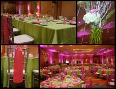 Celebrating Cindy's Floral Creations who created the gorgeous pink and ivory flower arrangements, as well the lime green linens and satin hot pink napkins that truly brought sophistication to a youth color scheme. 70 with Elegance  