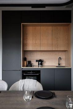 Modern kitchen designed by Cartelle Design - loftisallyouneed Kitchen Room Design, Modern Kitchen Design, Home Decor Kitchen, Interior Design Kitchen, Kitchen Furniture, Kitchen Ideas, Apartment Kitchen, Apartment Interior, Design Loft