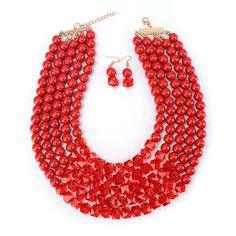 Fashion Women 2016 Necklace Pendant Bib African Bead Jewelry Set Choker Collier Femme Earring Beads Costume Ethnic Boho Jewelry Red Jewelry, Cute Jewelry, Boho Jewelry, Jewelry Accessories, Fashion Accessories, Women Jewelry, Fashion Jewelry, Trendy Fashion, Boho Fashion