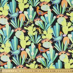 Cactus Club Animals Allover Fabric Black 112 cm