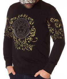 Versace Bluza Stone Printed - Neagra | Bluze | Bluze | Brande Donatella Versace, Gianni Versace, Marimo, Christopher Kane, Christmas Sweaters, Men Sweater, Printed, Sweatshirts, Fashion