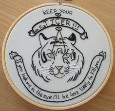 Tiger Hand Embroidery 5 Inch Bamboo Hoop 10% by ArtsforAnimals