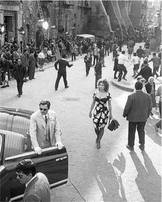 Marcello Mastroianni e Sofia Loren sul set di Matrimonio all'italiana, 1964