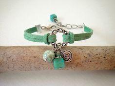 Mint Green Leather Charm Bracelet by Stylized Designs, $18.00