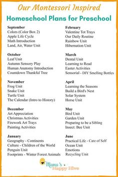 A weekly outline of our Montessori at home preschool plans years). Plus, links to practical life skills, Montessori materials list, and free printables! These unit studies can be used for homeschool or after school fun activities to supplement learning. Preschool Prep, Preschool Learning Activities, Preschool Lesson Plans, Preschool At Home, Preschool Themes By Month, Fun Activities, Home Preschool Schedule, Toddler Lesson Plans, Preschool Checklist