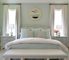 Andrew Howard Design -perfectly balanced bedroom retreat - Soothing palette of blues Bedroom Retreat, Dream Bedroom, Peaceful Bedroom, Coastal Bedrooms, Blue Bedrooms, Master Bedrooms, Master Suite, Deco Marine, Traditional Bedroom Decor