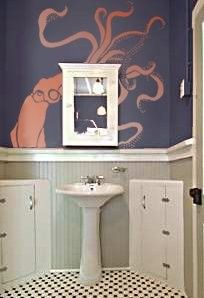 Bathroom wall - Squid stencil art by Olive Leaf Stencils $44.95