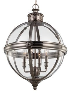 Murray Feiss F2931/4 Antique nickel globe chandelier. Restoration hardware knockoff $859