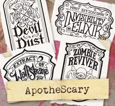 ApotheScary (Design Pack) design (UTP1257) from UrbanThreads.com - Turn your home into a spooky apothecary with these designs. Light, open, and full of creepy detail, they'll be wonderful on tea towels, throw pillows, totes, and more.
