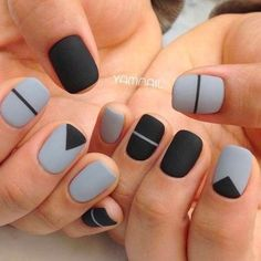 If you are looking for cute, simple nail designs, look no further. If you enjoy striped nails, then you are in for a treat. The artist took striped nails to the next level by adding a cute bow tie on Dark Color Nails, Purple Nail, Dark Nails, Nail Colors, Matte Gray Nails, Neutral Nails, Short Nail Manicure, Manicure E Pedicure, Manicure Ideas