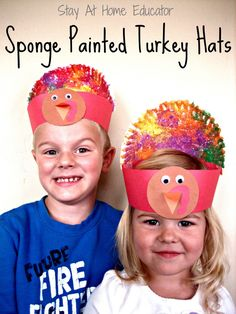 Sponge Painted Thanksgiving Turkey Hats