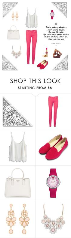 """""""NO.1"""" by elmat ❤ liked on Polyvore featuring 7 For All Mankind, Chicwish, Prada, Charlotte Russe and Yves Saint Laurent"""