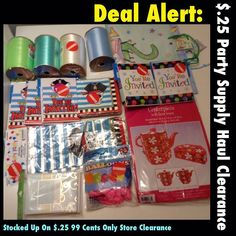 Party supplies were on sales for $.25 each a the 99 cents only store